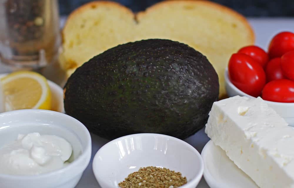 The ingredients for avocado toast with feta and za'atar.