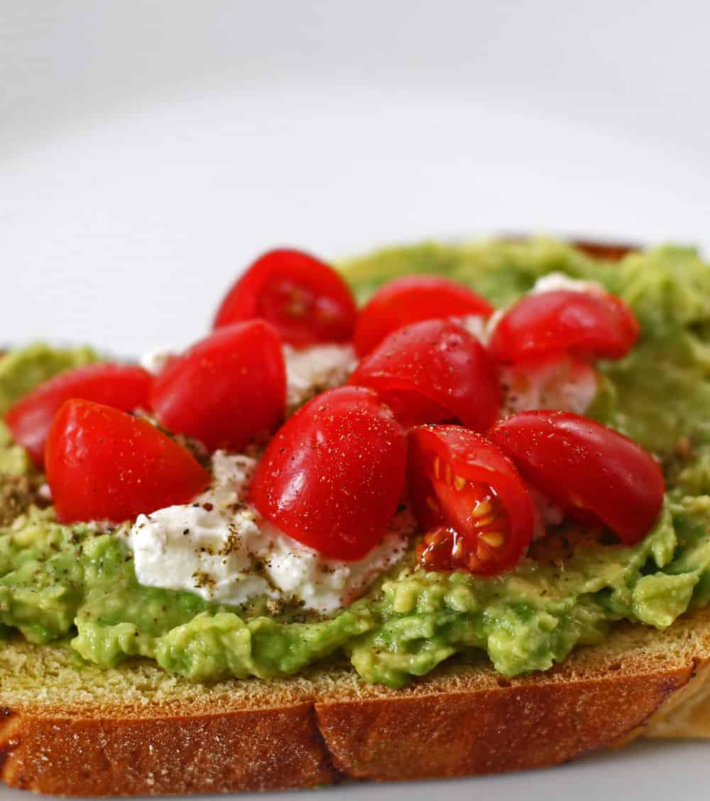 Avocado toast with feta and za'atar