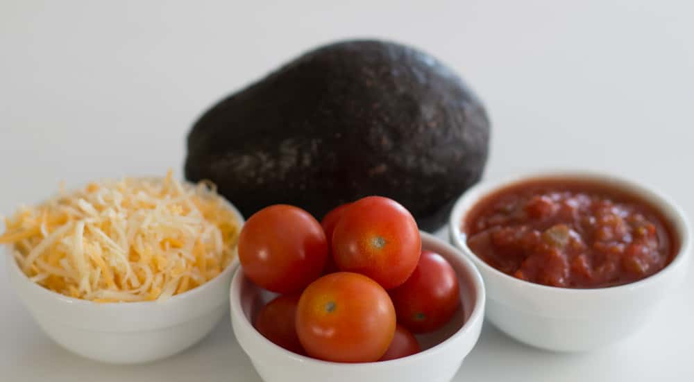 Great topping ideas for refried bean burritos.