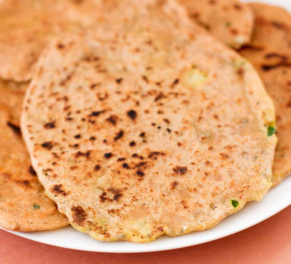 Aloo paratha, potato-filled flatbreads, after cooking.