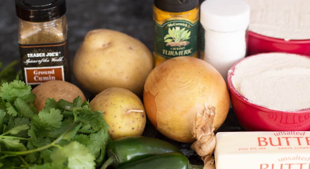 Ingredients for aloo paratha or potato-stuffed flatbread