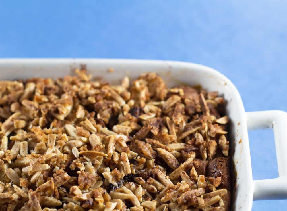 Crispy loaded bread pudding ready to be served. A great make-ahead dessert or brunch dish.