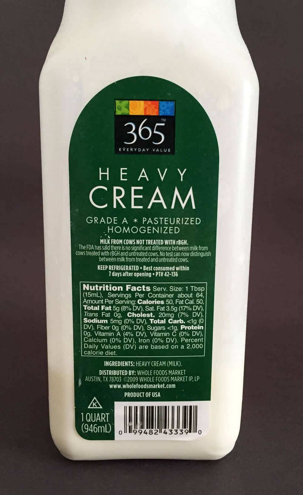 Heavy cream has no stabilizers or other additives.