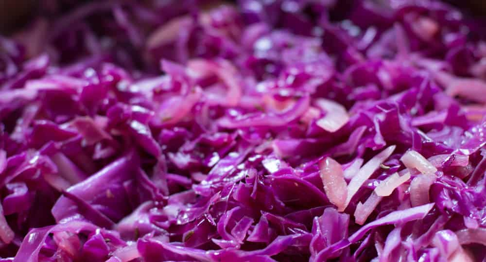 Cabbage cooking for quick braised red cabbage with cider vinegar.