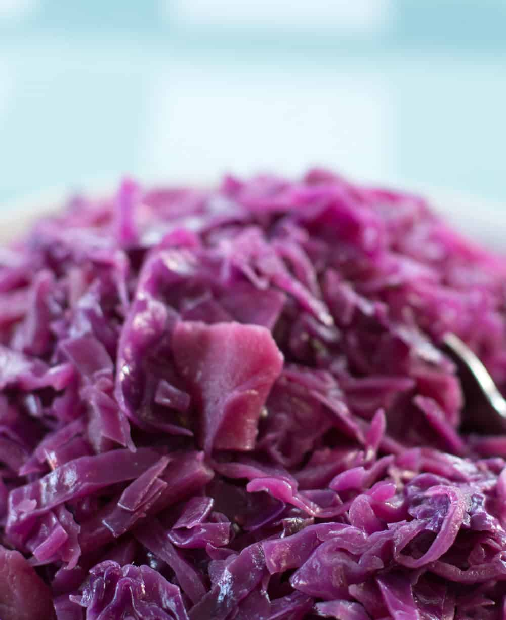 Quick Braised Red Cabbage with Cider Vinegar.