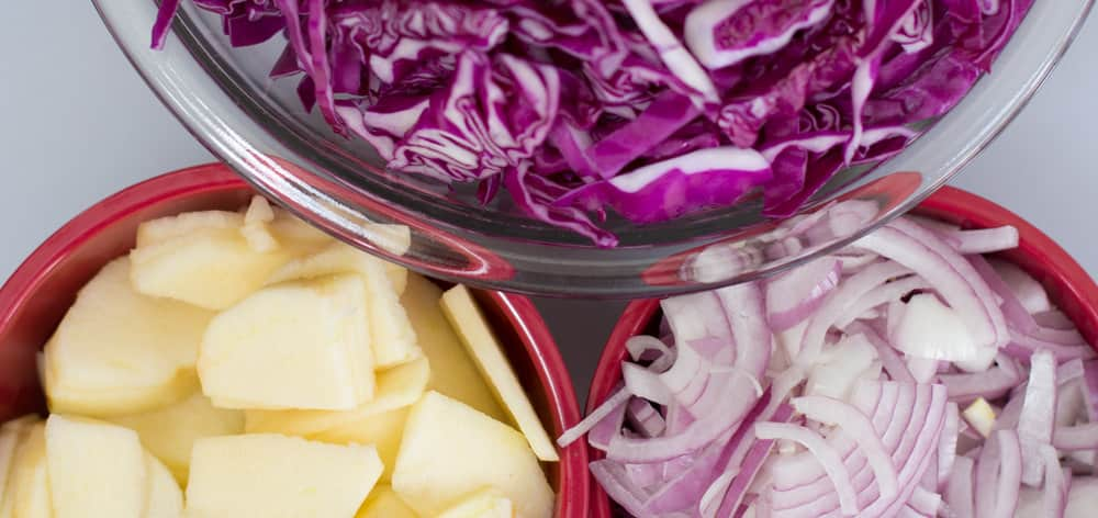 Cabbage, apples and onions ready to make braised red cabbage.