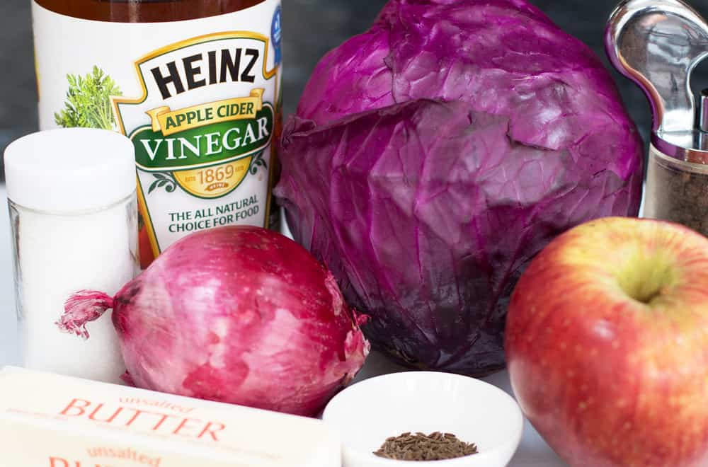Ingredients for Quick Braised Red Cabbage with Cider Vinegar.