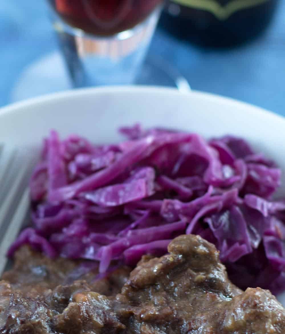 Quick Braised Red Cabbage with Cider Vinegar goes beautifully with Belgian beef stew.