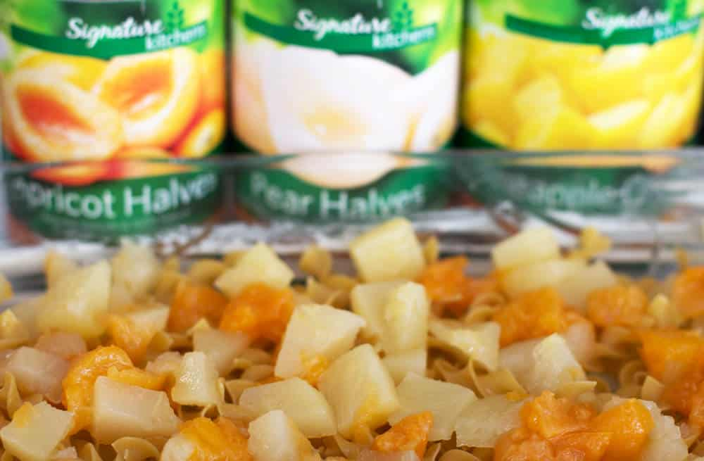 The canned fruit in this sweet lokshen kugel or noodle pudding give it ...