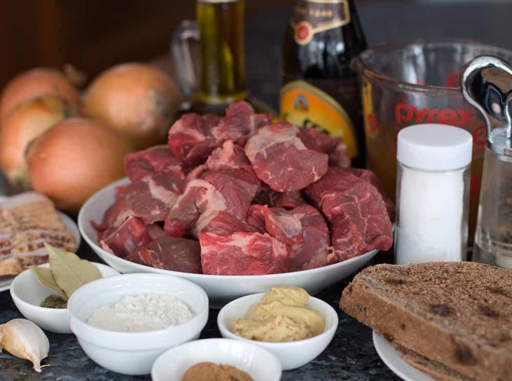 Ingredients for Carbonnade, Belgian beef and beer stew.