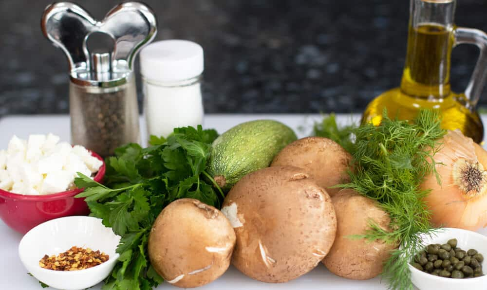 Ingredients for Feta Dill Stuffed Mushroom Caps