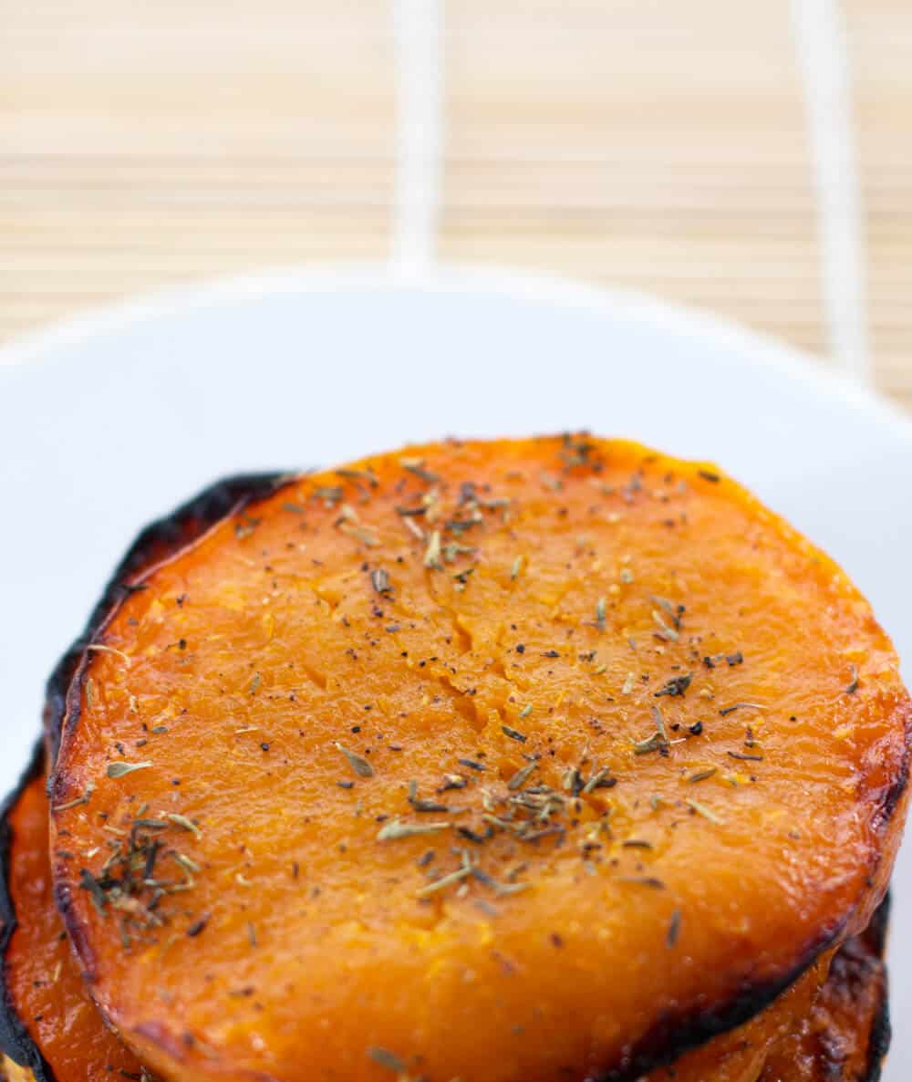 These Maple Roasted Butternut Squash Slices with Thyme take less than 30 minutes to prepare | Mother Would Know