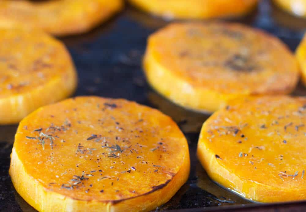 Halfway done roasting butternut squash slices