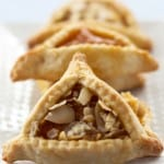 three apricot hamantaschen
