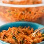 A bowl of Moroccan shredded carrot salad
