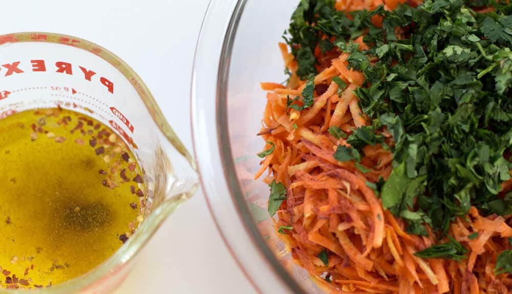 Components for Moroccan Shredded Carrot Salad | Mother Would Know