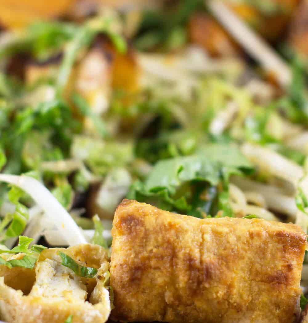 Crispy baked tofu in a salad adds nutrition and soaks up the dressing for a tasty treat. | Mother Would Know