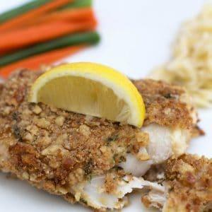 Pretzel crusted fish fillets
