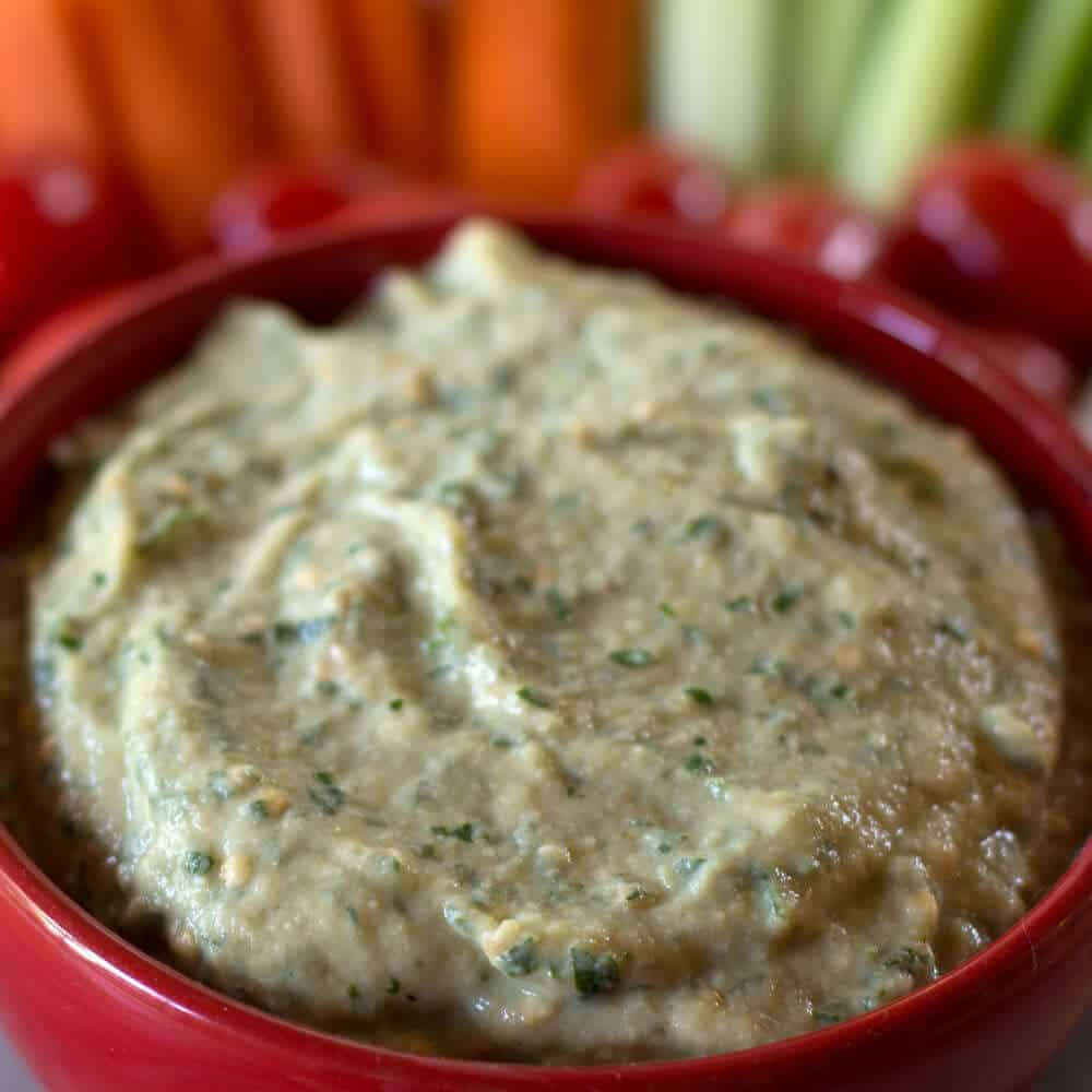 Middle Eastern Zucchini Tahini Eggplant Dip - a light and delightful dip for celebrations or just a healthy snack for everyday eating. | Mother Would Know