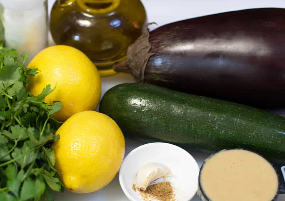 Ingredients for Middle Eastern Zucchini Tahini Eggplant Dip | Mother Would Know
