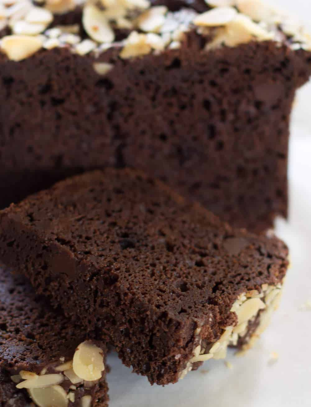 Moist Almond Chocolate Loaf - an easy way rich chocolate cake made like a quick bread. | Mother Would Know