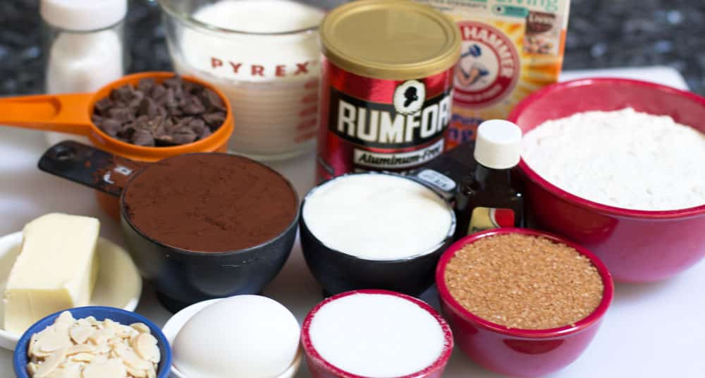 Ingredients for Moist Almond Chocolate Loaf
