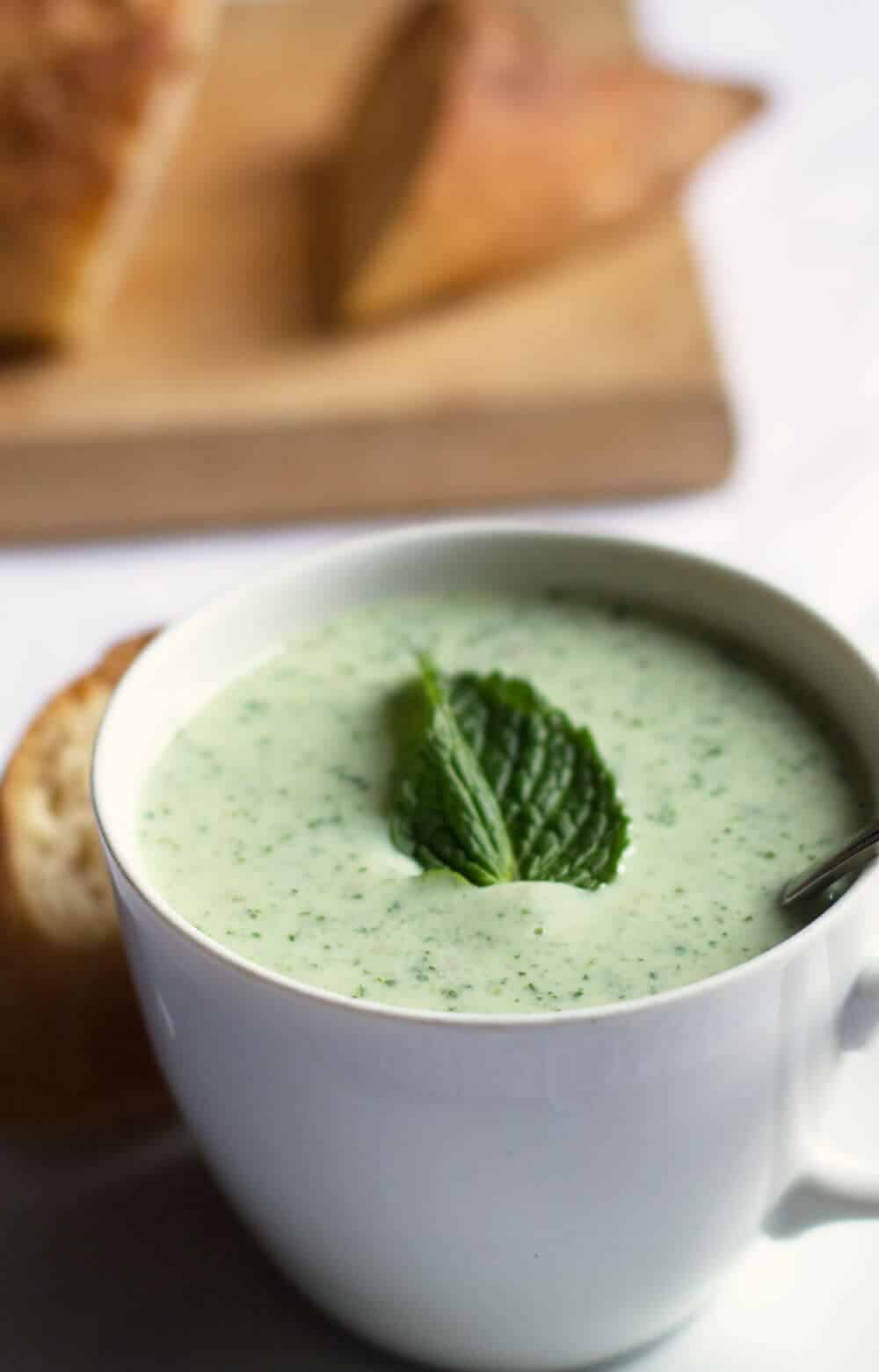 Chilled Avocado Cucumber Soup - a perfect summer light meal, appetizer or first course.   Mother Would Know