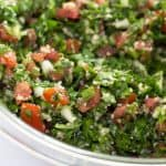 Tabouli done - with vegetables, bulgur and dressing.
