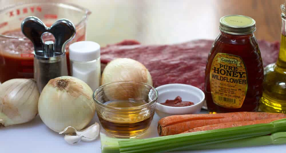 Ingredients for Rosh Hashanah Sweet and Sour Brisket