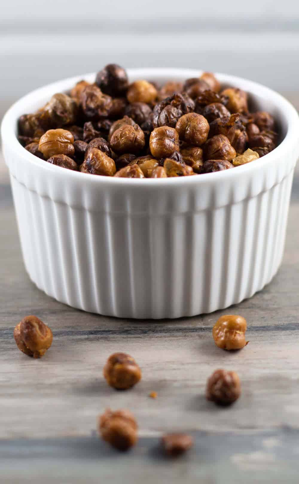Oven-roasted chickpeas with hot sauce are a fun and healthy snack. | Mother Would Know