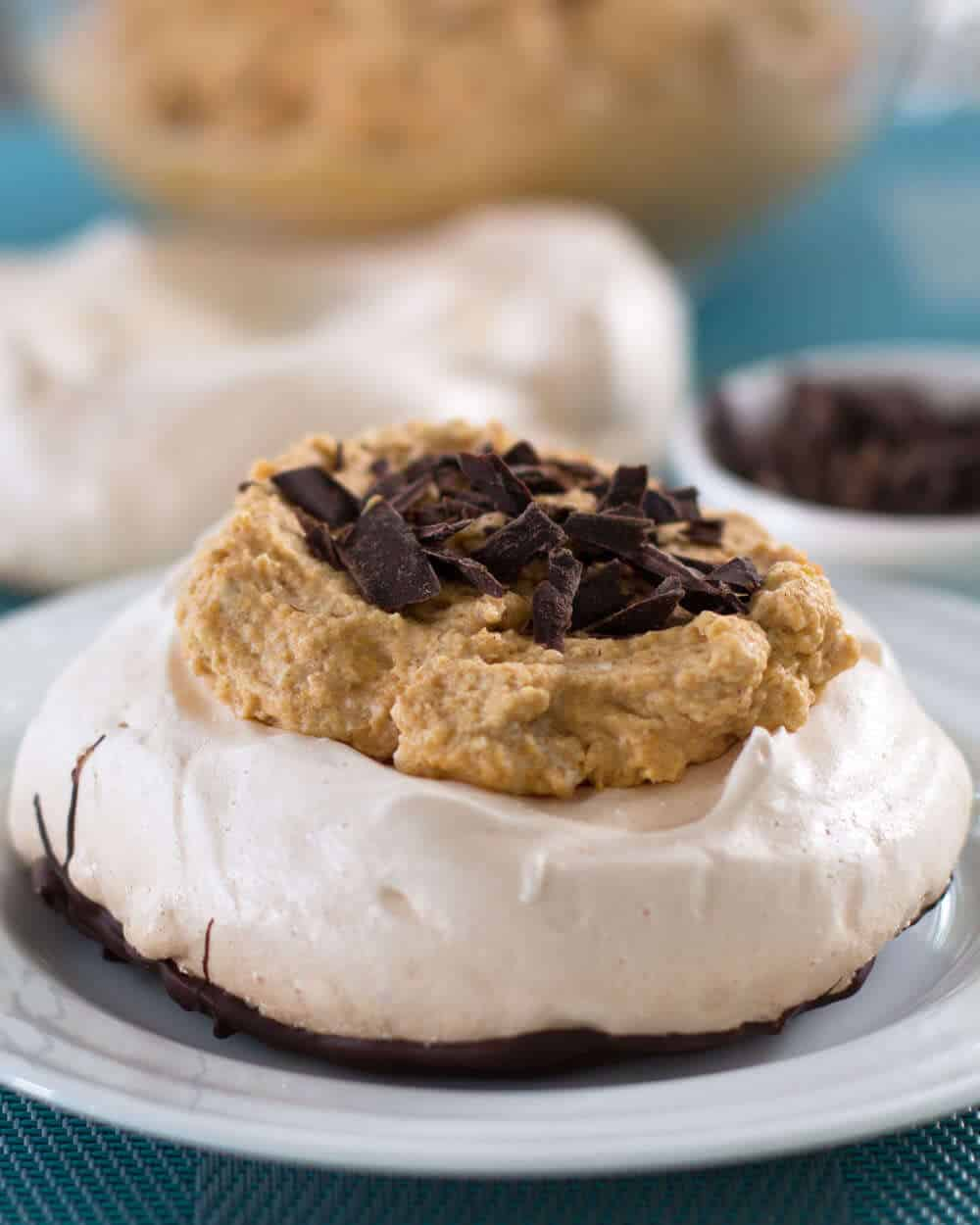 Pumpkin Chiffon Chocolate-Bottomed Pavlova - a tongue twisting name for a wonderful dessert. | Mother Would Know