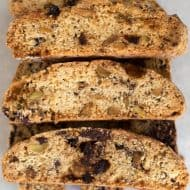 Pistachio Dried Cherry Chocolate Chunk Biscotti