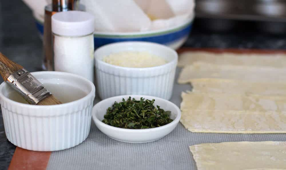 Mise en place for Puff Pastry Potato Roses