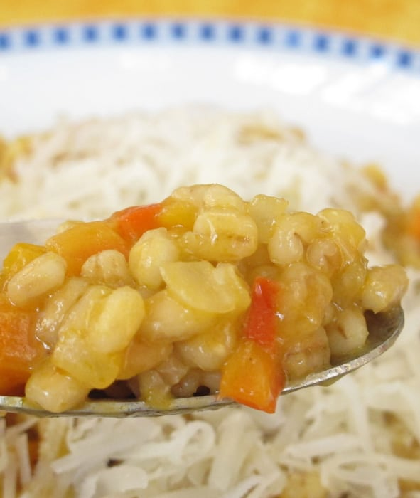 Barley risotto with pearl barley.