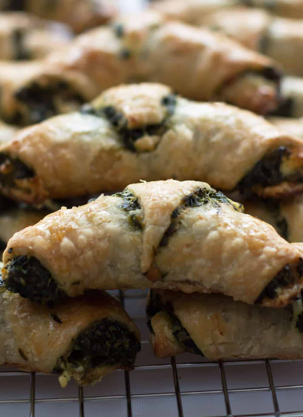 Spinach Feta Rugelach, a savory green treat for St. Patrick's Day