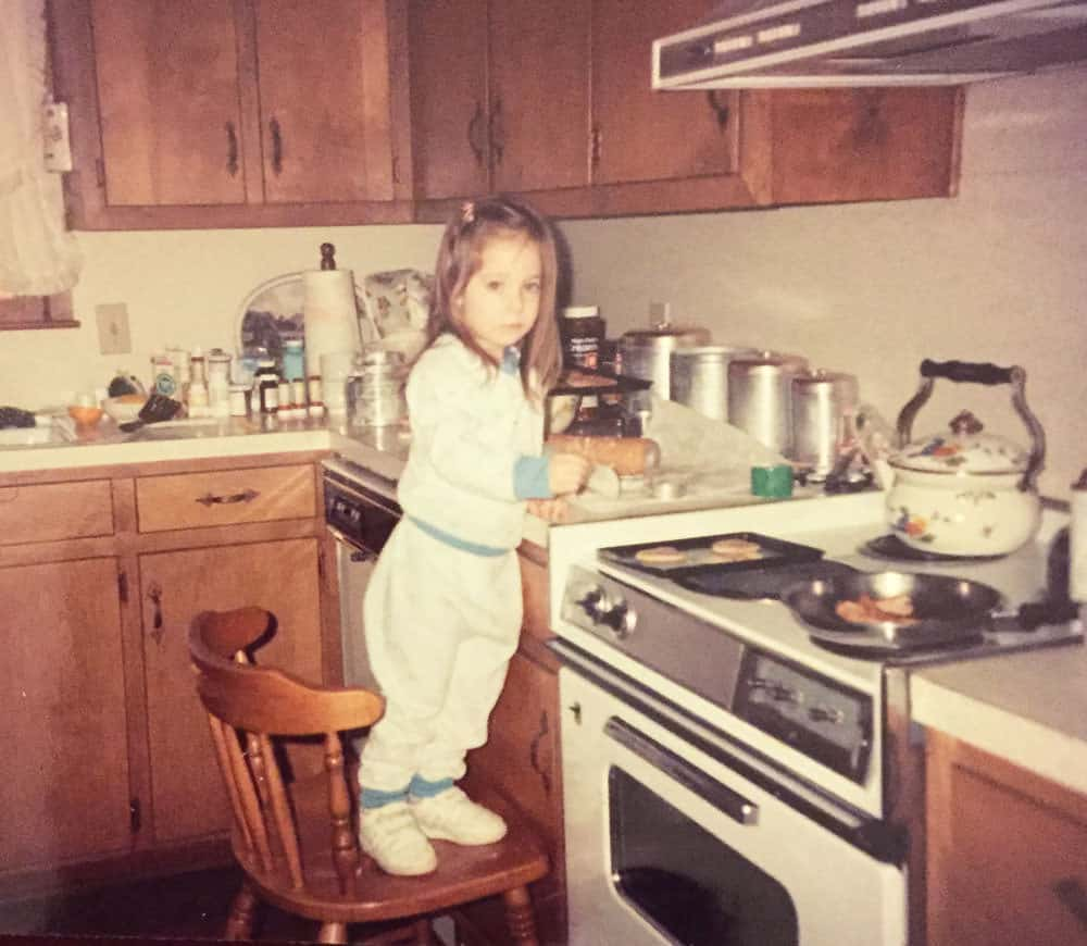 Collyn baking in Grandma's kitchen