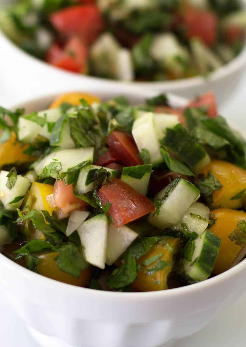 Start your summer off with Tomato Cucumber Mint Salad | Mother Would Know