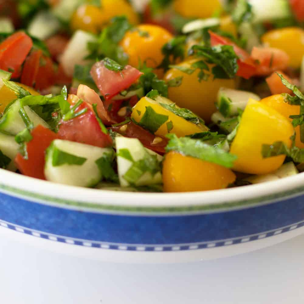 Tomato Cucumber Mint Salad - a summery treat to be sure | Mother Would Know