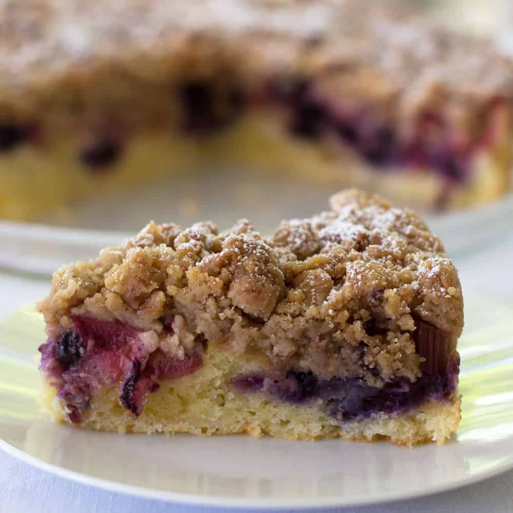 Blueberry Rhubarb Streusel Cake