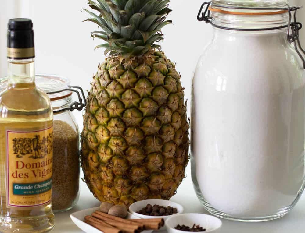 Ingredients for spiced pineapple shrub.