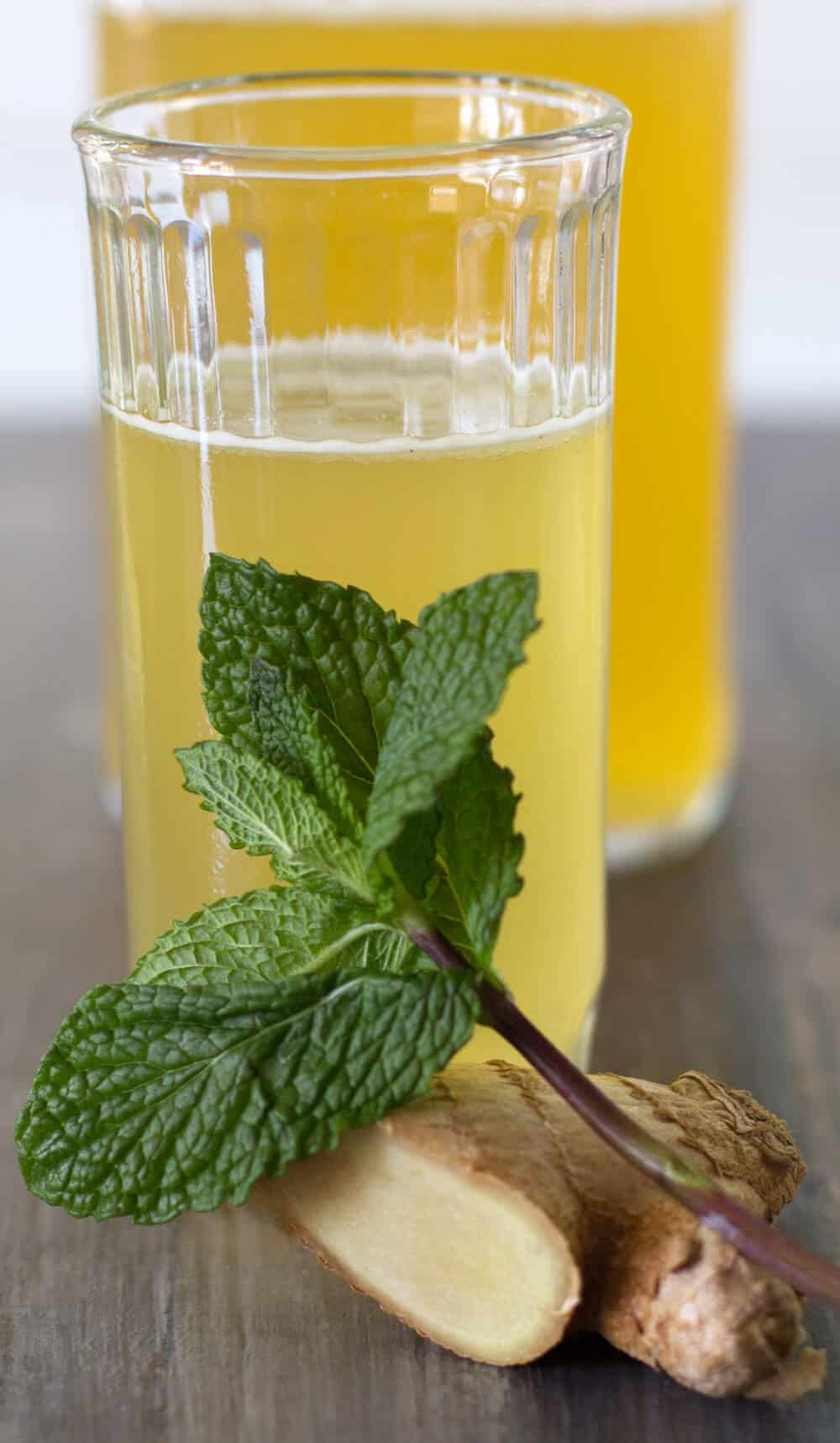 Pineapple Ginger Mint Shrub, ready to drink.