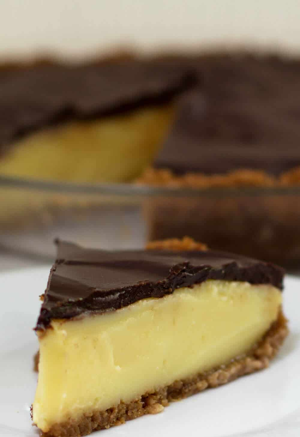 Boston Cream Pie reinvented as true pie, cuts beautifully when well chilled.