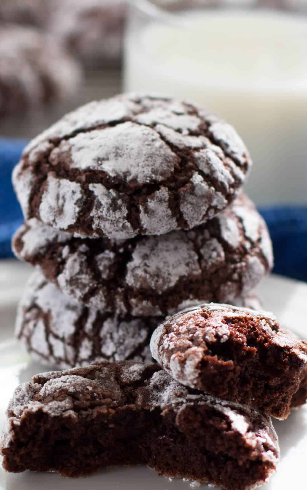 Fudgy Crackled Chocolate Cookies ready to be eaten with a glass of milk | Mother Would Know