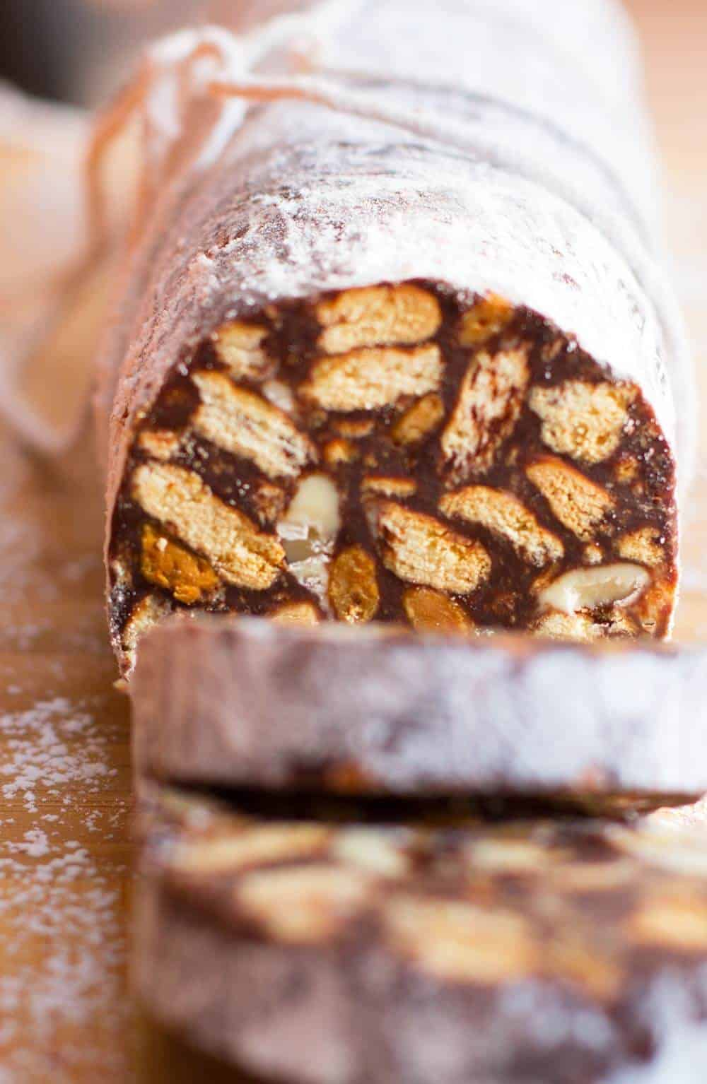 Chocolate Salami, studded with cookies and nuts | Mother Would Know