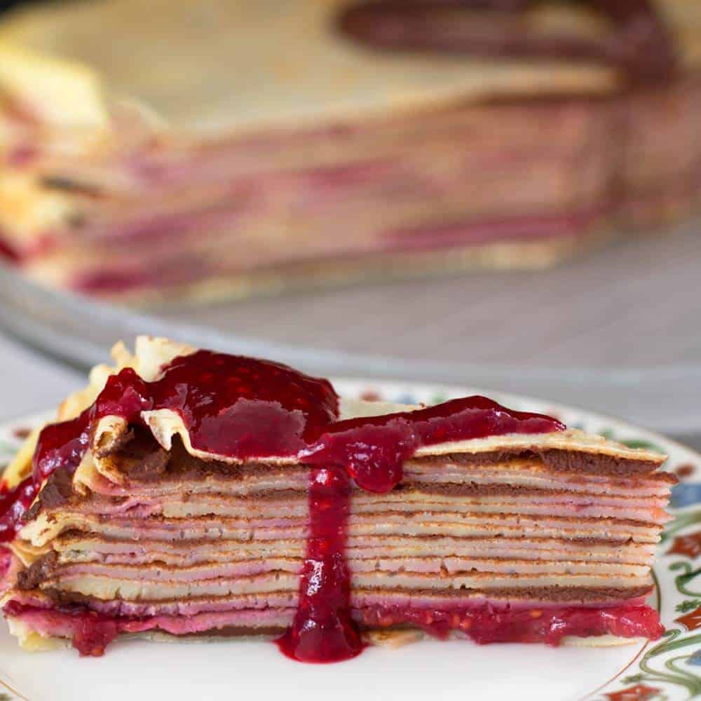 Piece of crepe cake