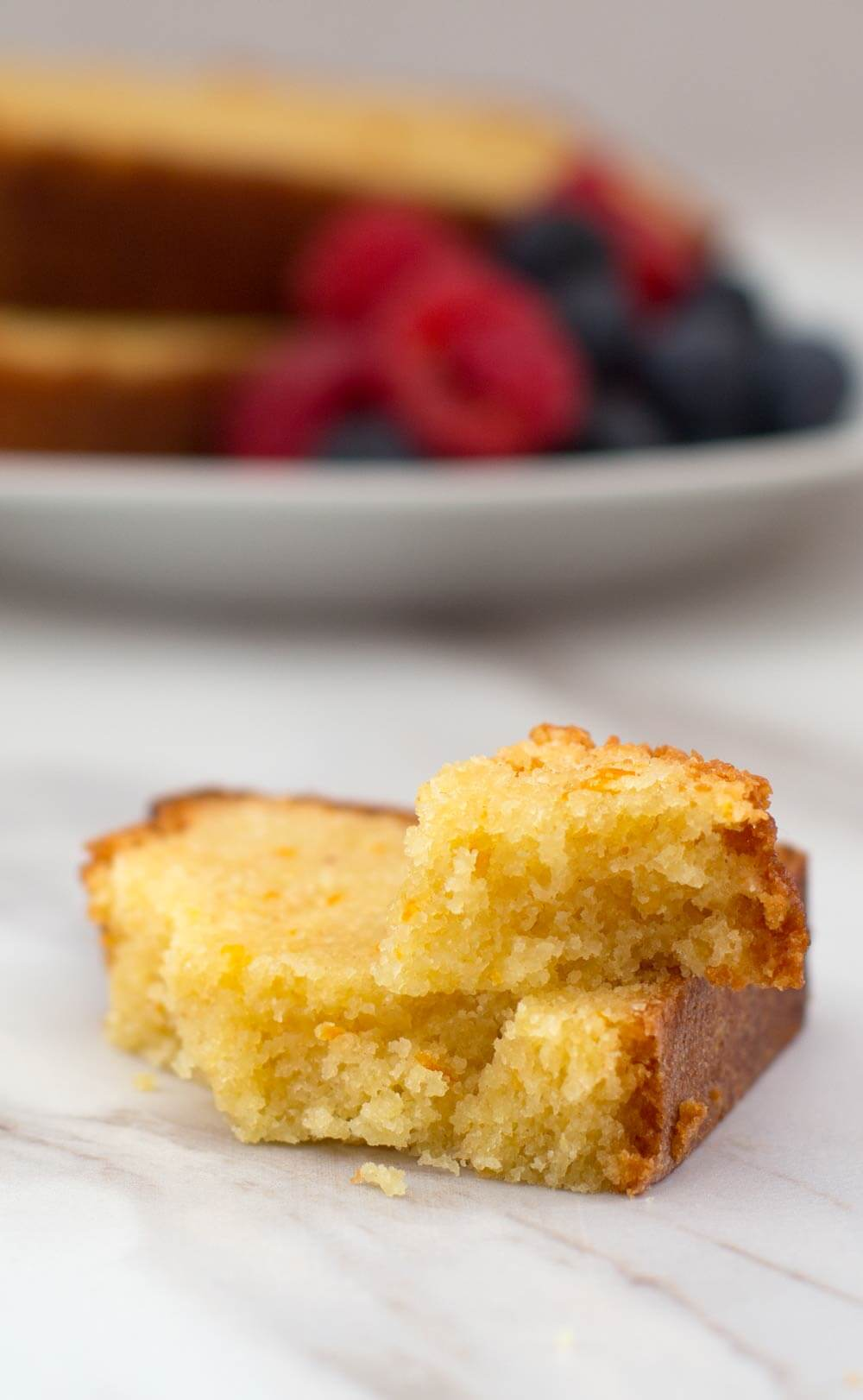 piece of Passover orange-scented loaf cake with fruit