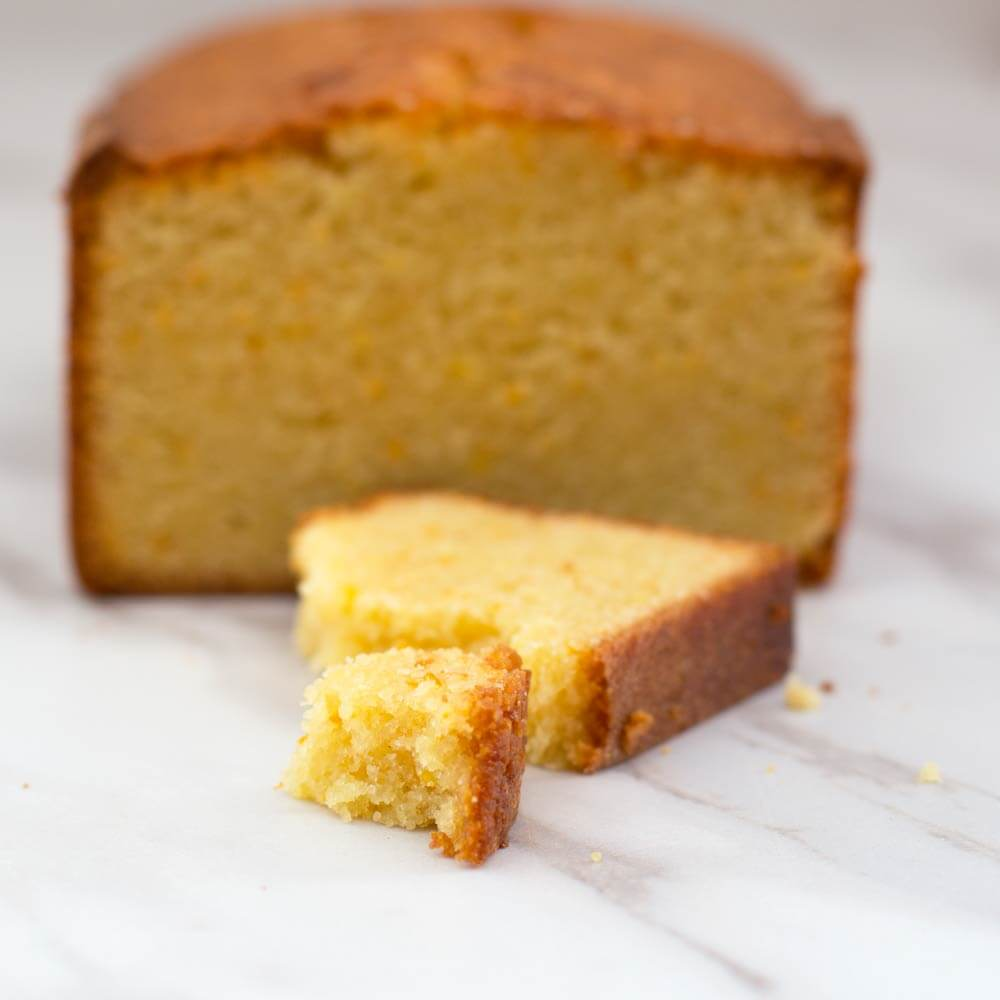 piece of Passover orange-scented loaf cake