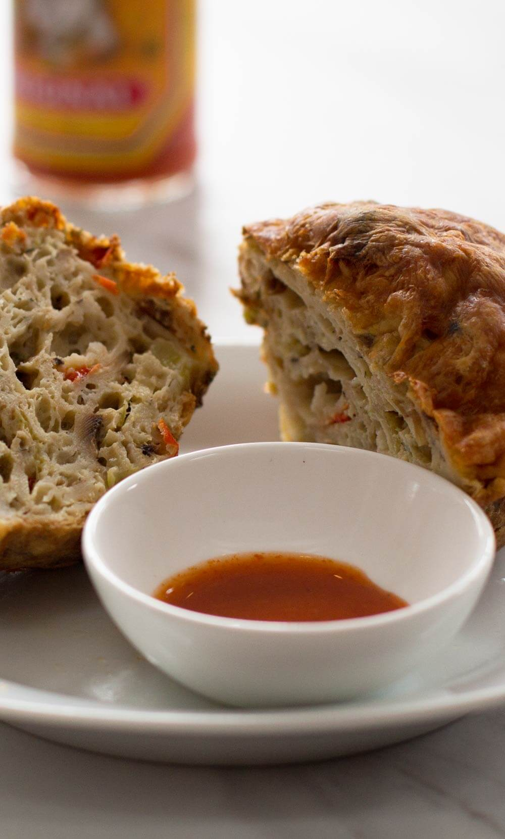 Savory Passover matzo muffins with hot sauce