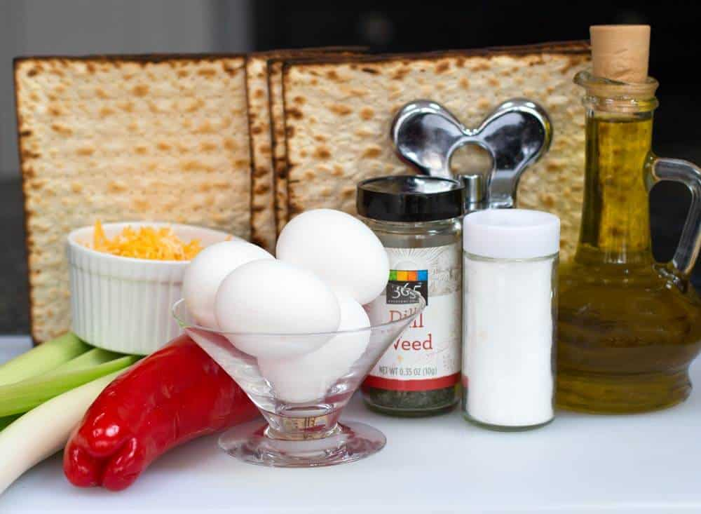 ingredients for savory Passover matzo muffins