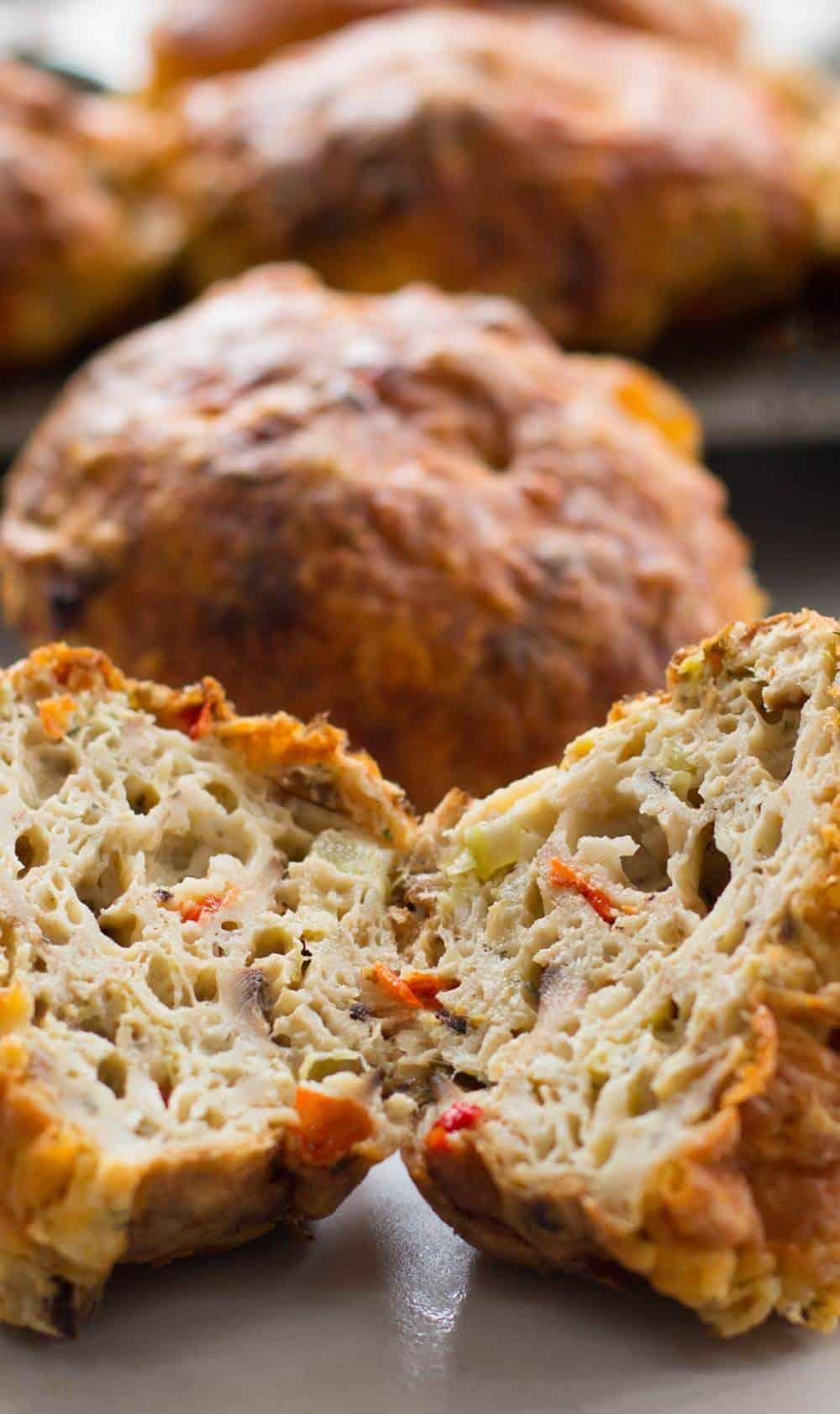 savory Passover matzo muffin cut open